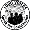 The logo for 1,000 speak for compassion. It is a circle with the words 1000 Voices at the top, and Speak for Compassion at the bottom, arched around the inner part of the circle. Then another circle inside displaying 3 black silhouettes of people and about 15 line drawings of people behind them.